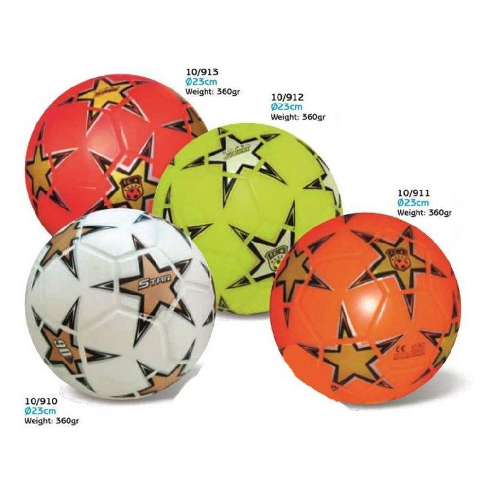 Μπάλα Πλαστική Μεγάλη 23cm Soccer Ball Αστέρι (White - Gold)