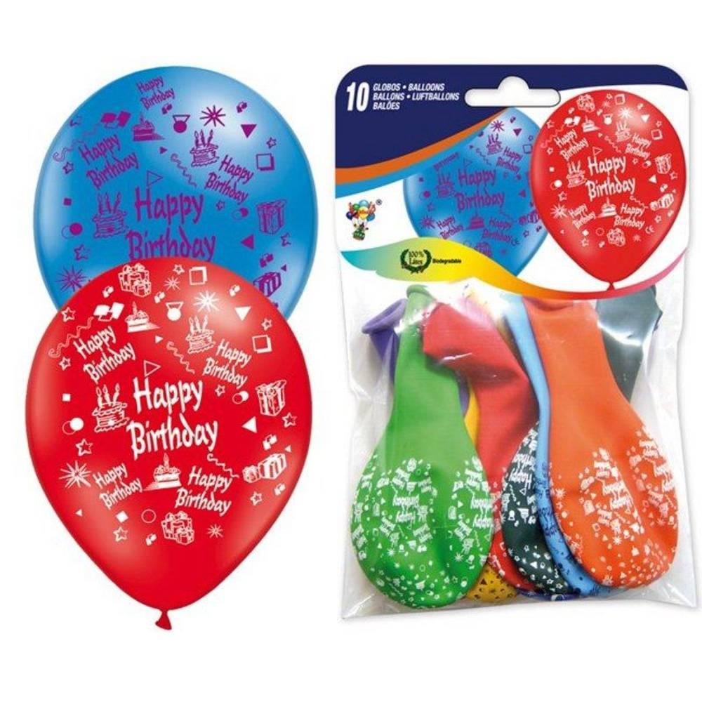 10 Μπαλόνια Happy Birthday 29cm  ΙΣΠΑΝΙΚΑ