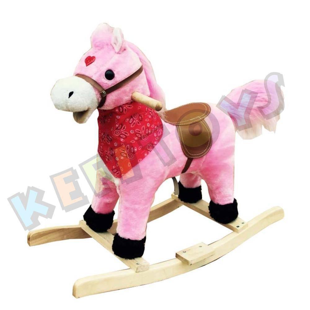 Παιδικό Ξύλινο Κουνιστό Αλογάκι Ροζ με Ήχο & Κίνηση
