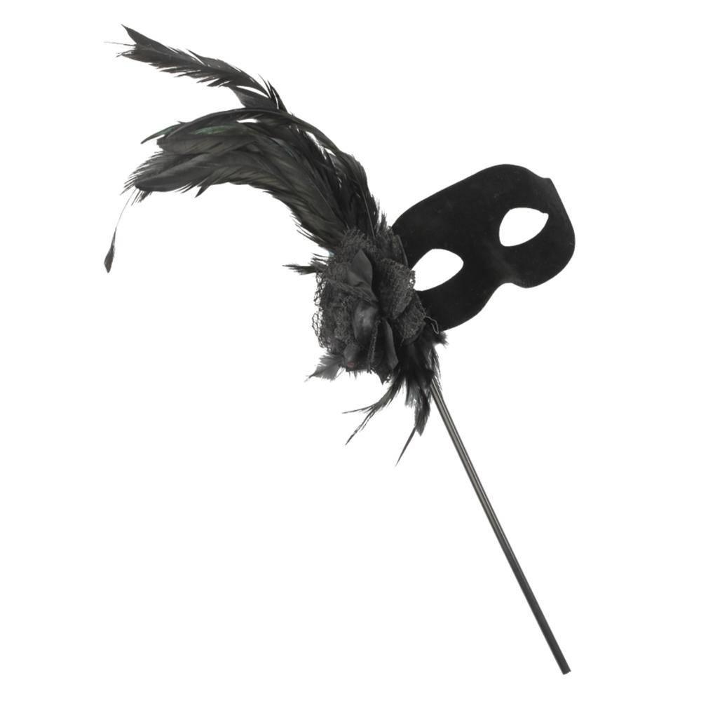 Μαύρη Μάσκα Ματιών Με Φτερό Και Λαβή